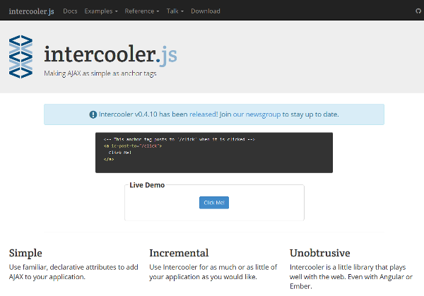 intercooler.js - Simple AJAX using HTML attributes