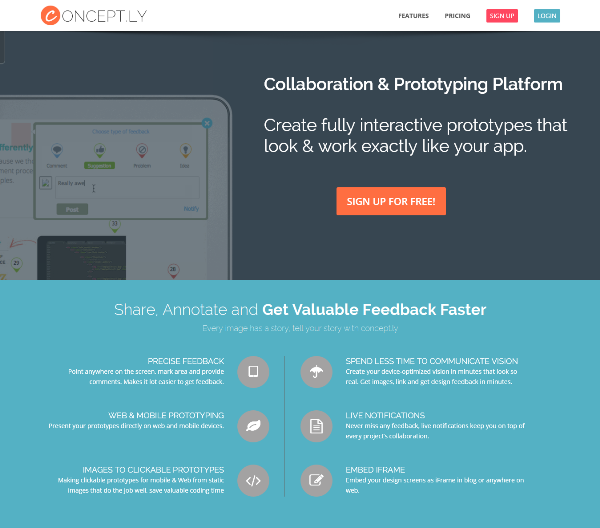 Concept.ly - Free web & mobile(iOS,Android) prototyping and ui mockup tool